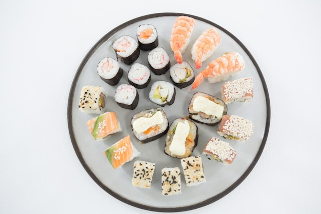 Various sushi on plate
