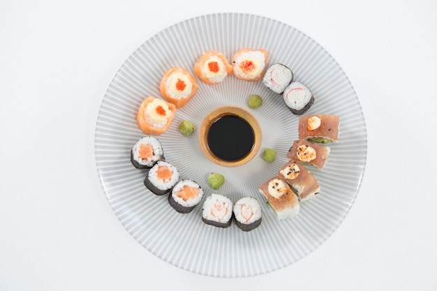 Various sushi served on plate