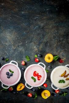 Various sweet creamy fruit & berry soups