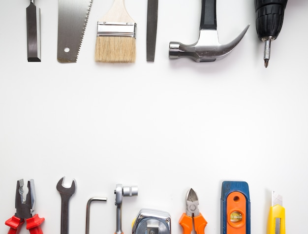 Various tools over a blank panel