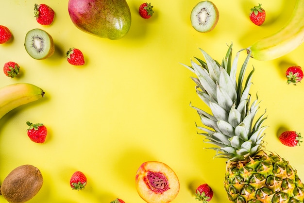 Various tropical fruit background