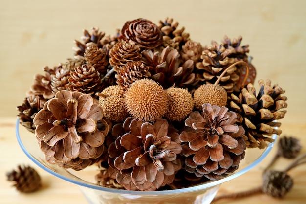 유리 설탕에 절인 과일에 들어있는 많은 자연 건조 소나무 콘의 다양한 유형과 크기