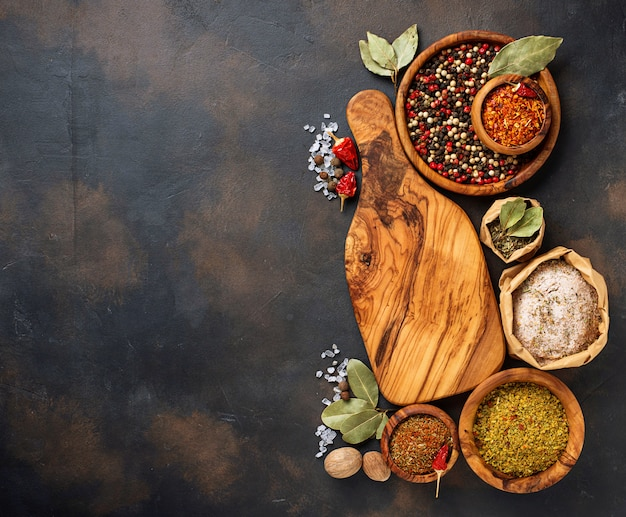 Various type of herbs and spices