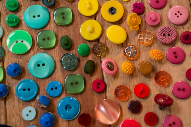 Various types of buttons on a table