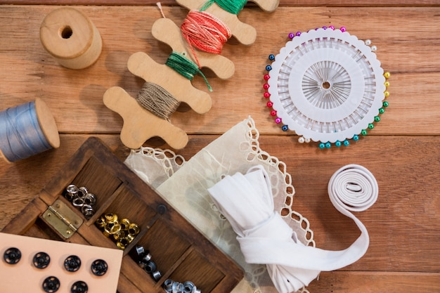Various types of buttons with thread spool
