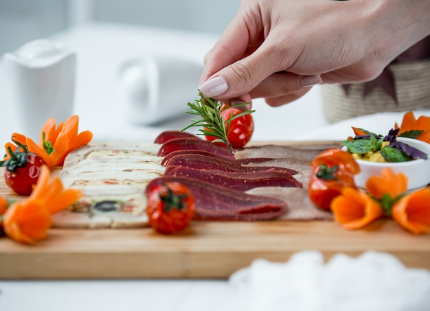 Various types of carpaccio on the table