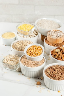 Various types cereal grains groats