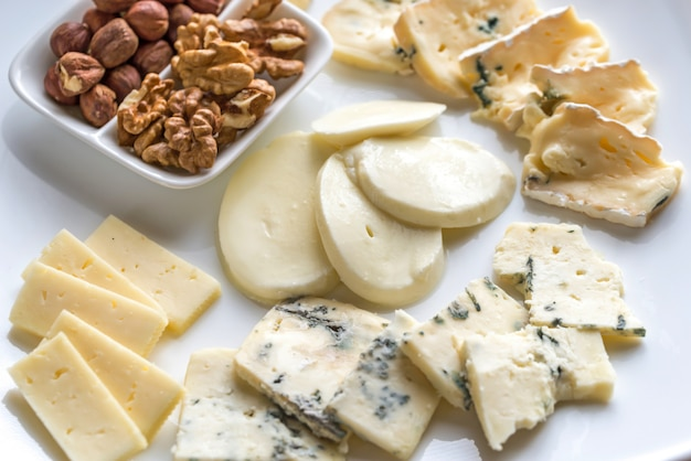 Various types of cheese top view