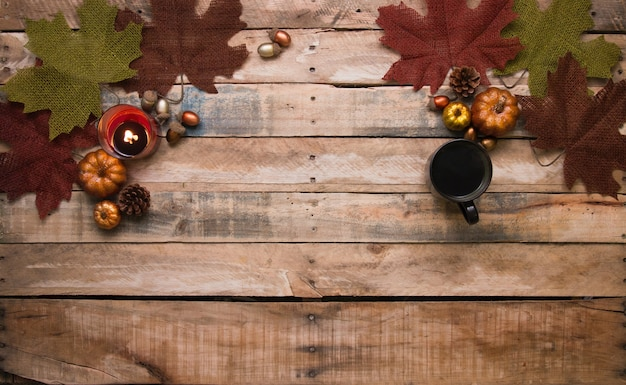 Various types of fruit and coffe are arranged on the table in order to thanksgiving day