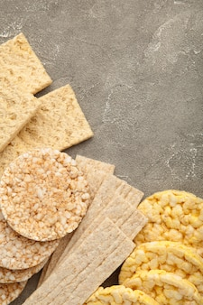 Various types of healthy whole grain crispbreads