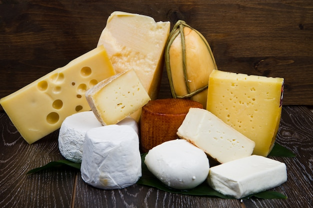 Various types of international soft and hard cheese