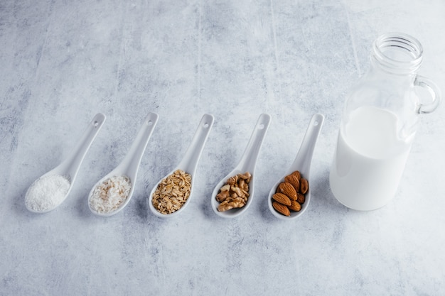 Various types of lactose free vegetable milk