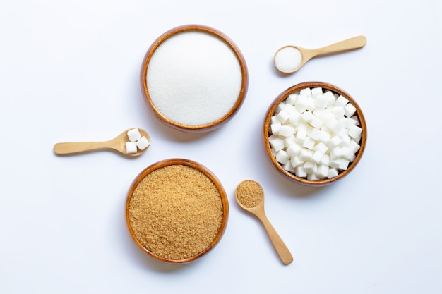 화이트에 설탕의 다양한 유형