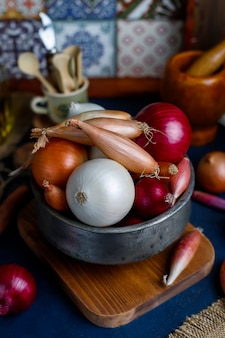 Various types of onions red, white, yellow, shallot