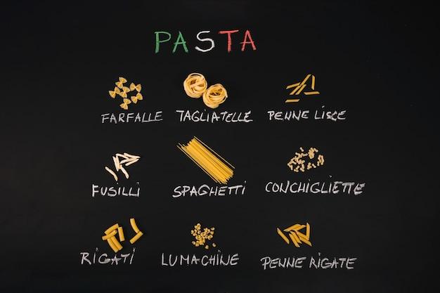 Various types of pasta on black