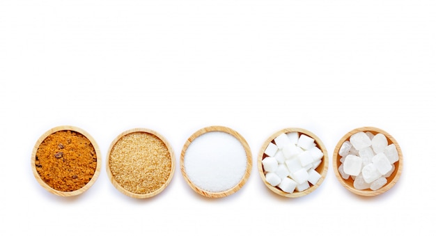 Various types of sugar on white