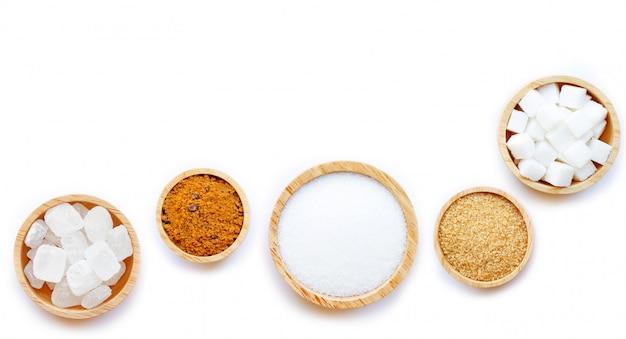 Various types of sugar on white