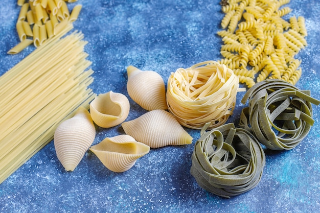 Various types of uncooked pasta
