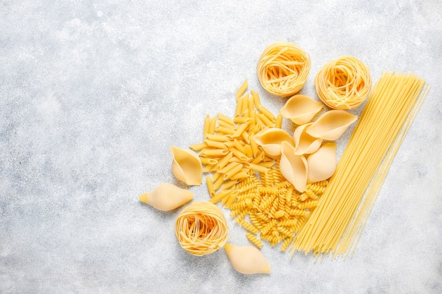 Various types of uncooked pasta.