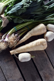 Various types of vegetables on table rustic