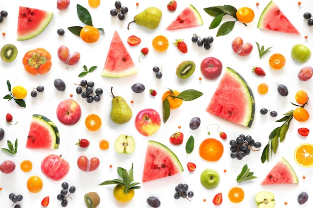 Various vegetables and fruits isolated on white