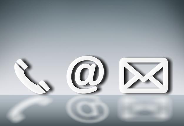 Различная коллекция белых значков для контактного сообщения