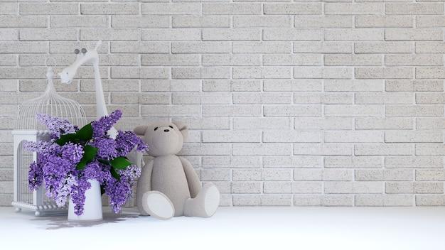 Vase of purple,bird cage ,teddy bear and giraffe for childen - 3d rendering