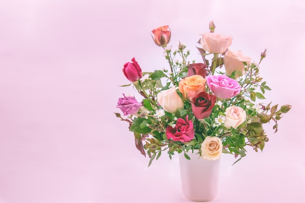 Vase of roses bouquet on white backgroundfor valentine day