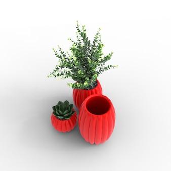白い背景の上の植物と多肉植物の花瓶
