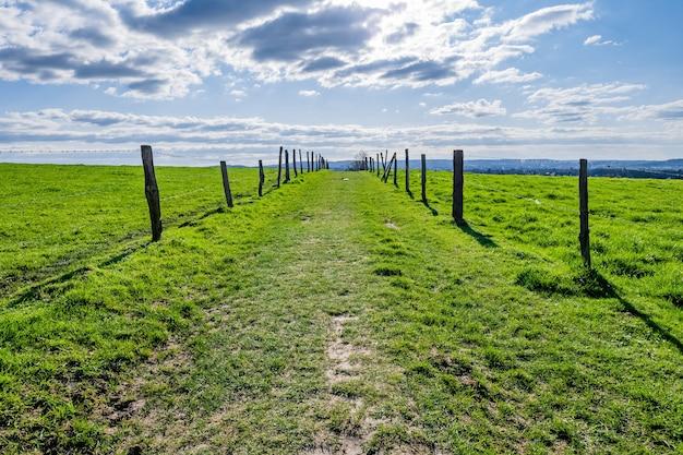 낮에는 푸른 하늘이있는 광대 한 녹색 계곡