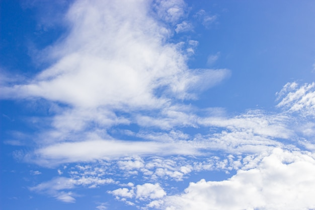 The vast sky is bright and beautiful white clouds of the new morning.