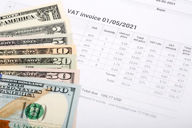 Vat invoice with american money