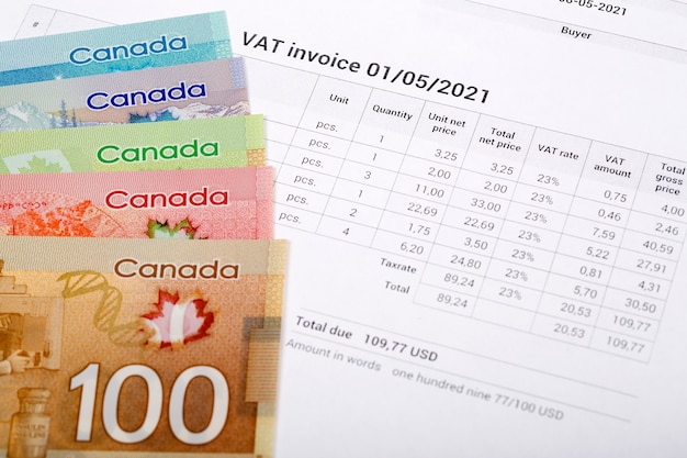 Vat invoice with canadian money