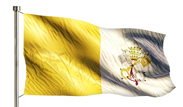 Vatican city national flag isolated 3d white background