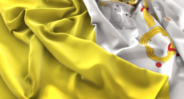 Vatican flag ruffled beautifully waving macro close-up shot