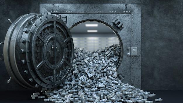 Vault door in bank with a lot of money