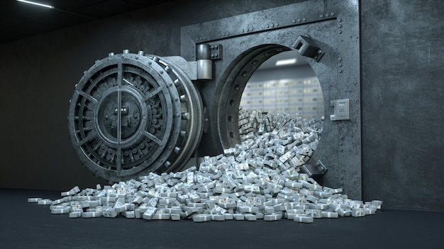 Vault door in bank with a lot of money