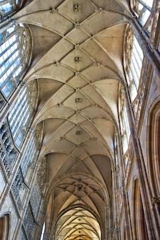 有機的な幾何学的要素を持つゴシック様式の大聖堂のアーチ型天井