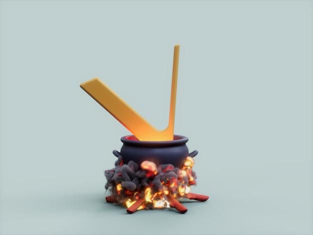 Vechain 가마솥 화재 요리사 암호화 통화 3d 그림 렌더링