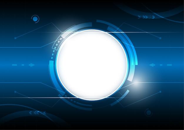 Вектор абстрактный цифровой фон, белый круг пустое пространство, концепция высоких технологий цифровых технологий, синий свет киберпространства.