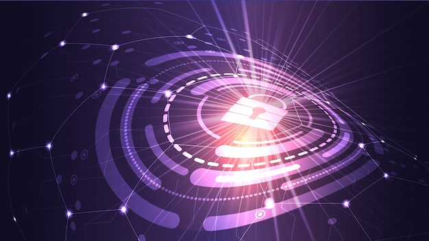Векторный фон компьютерной безопасности и защиты информации в интернете. eps 10