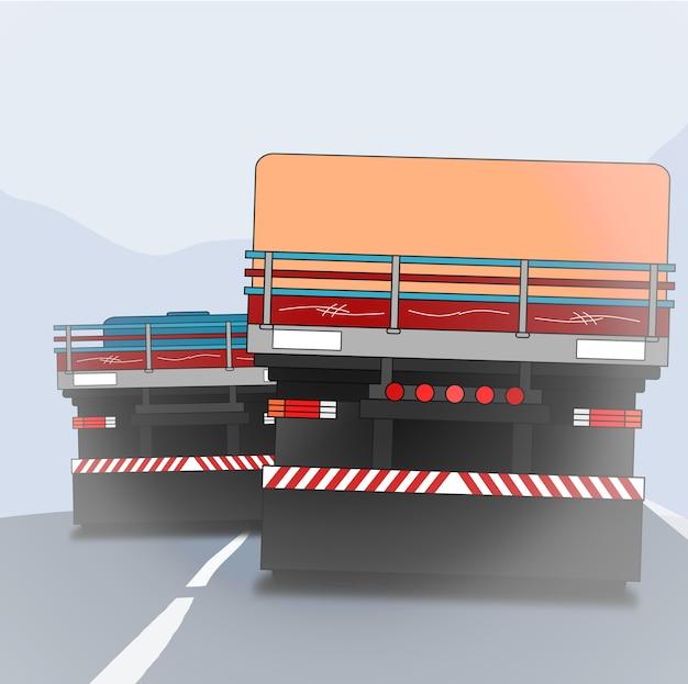 霧に包まれた高速道路で並んで2台のトラックの後部のベクトルの背景