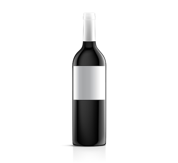 Vector blank white label mock up on black bottle of red wine isolated