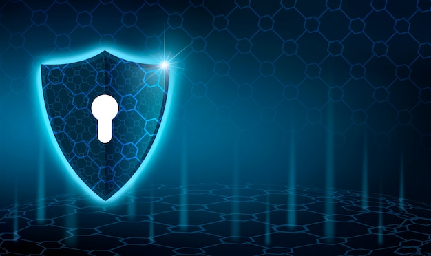 Vector blue shield business concept of data protection blue shield  blue background