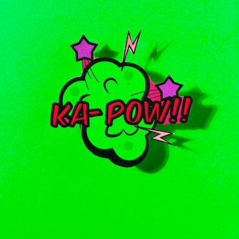 Vector comic speech bubble with phrase pow on green background