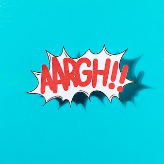Vector illustration of a comic sound effect aargh on blue backdrop