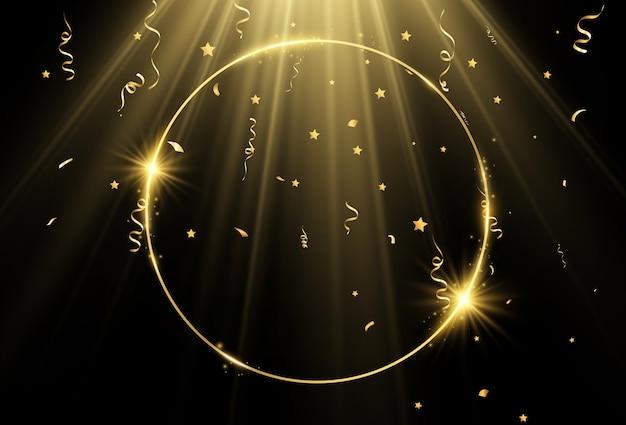 Векторная иллюстрация золотой рамы с мазком кисти