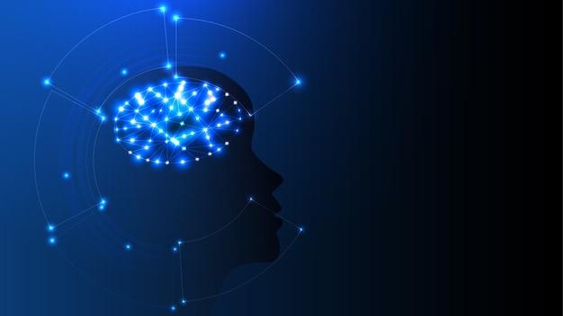 明るい人間の頭の形で人工知能のベクトル画像。 eps 10