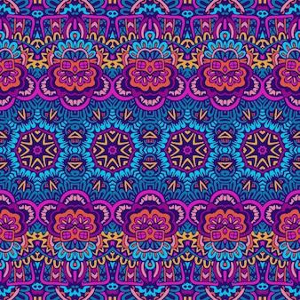 ベクトルのシームレスなパターン民族部族の幾何学的なサイケデリックスカラフルなプリント