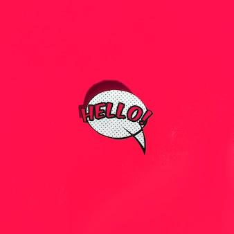 赤い背景にこんにちは挨拶とベクトル泡のアイコン